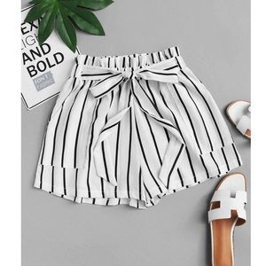 Pants - Black and white striped shorts